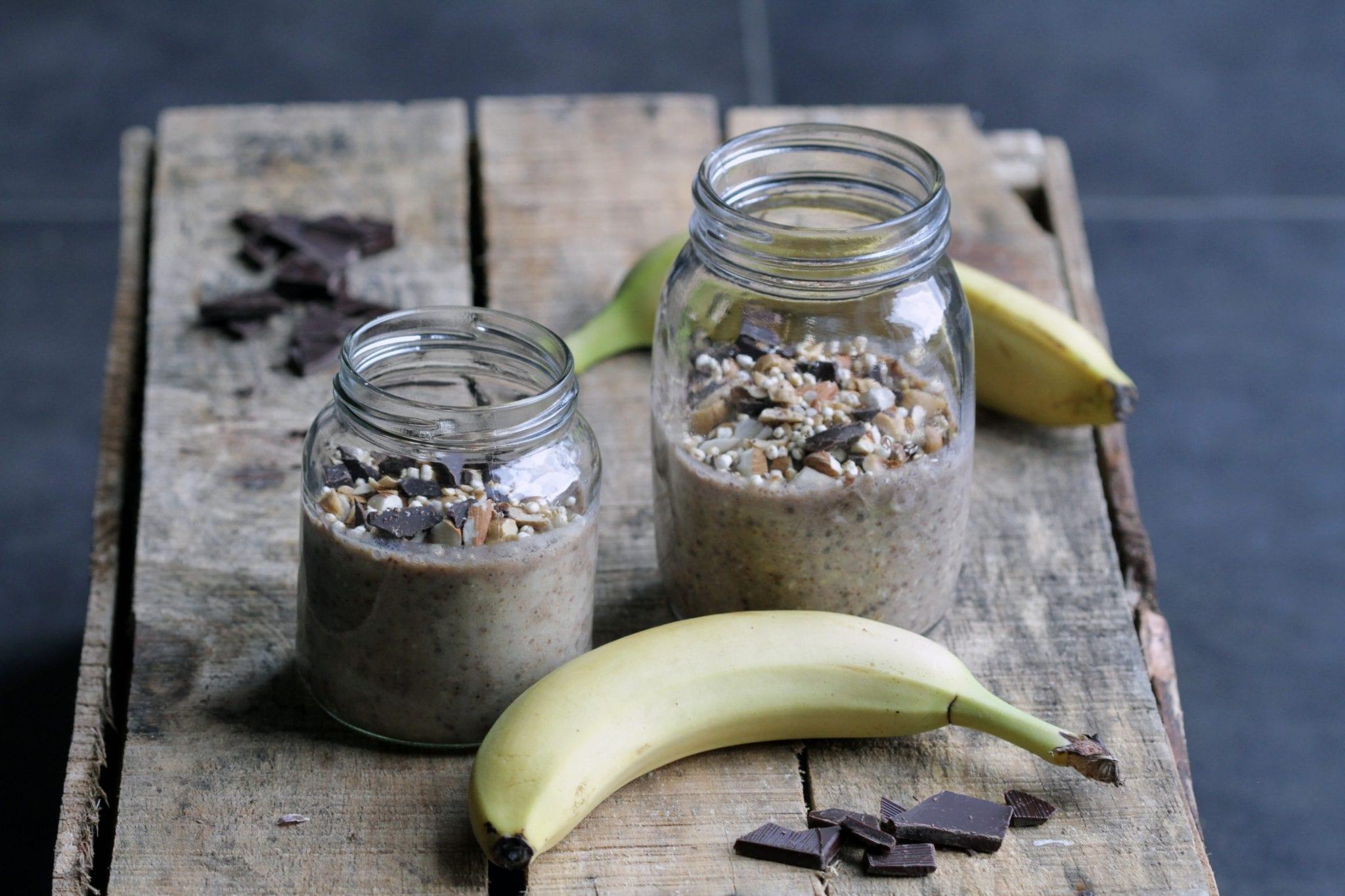 IMG 6997 Overnight oats med chokolade, maca og banan