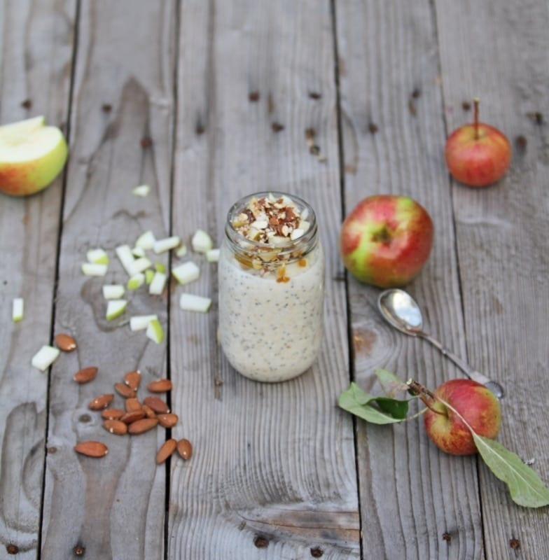 overnight oats æblekage