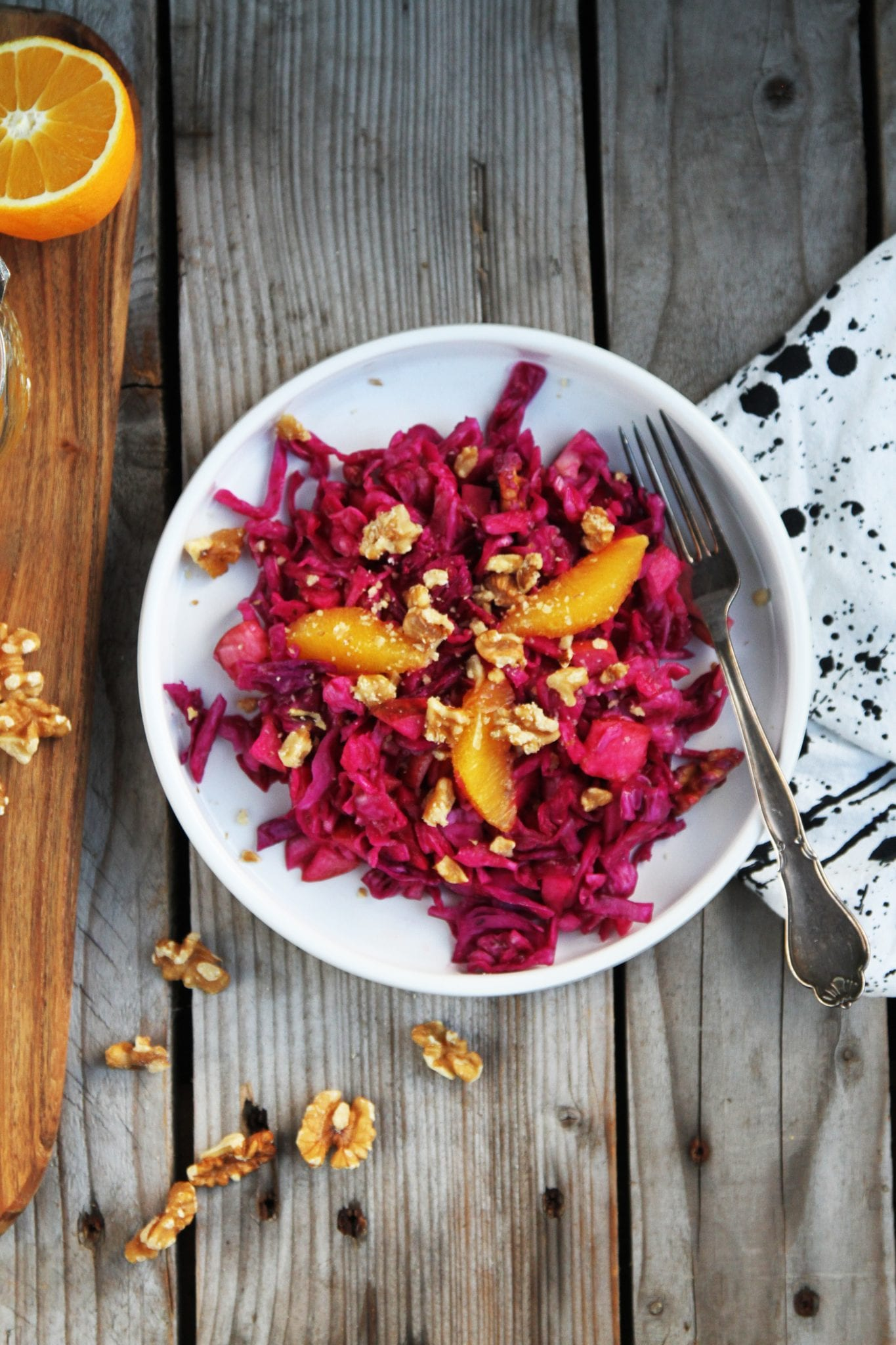 salat rødkål spidskål Rødkålssalat med appelsin, mango og æble