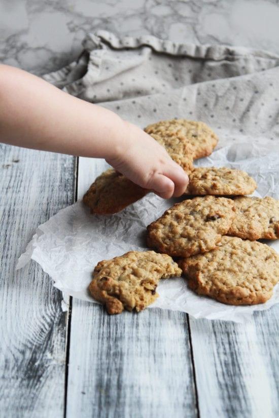 Havregryns cookies med mørk chokolade