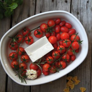 tomat og feta pastafad